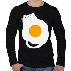 PRINTFASHION Egg Cat - Férfi hosszú ujjú póló - Fekete