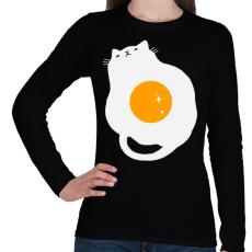 PRINTFASHION Egg Cat - Női hosszú ujjú póló - Fekete