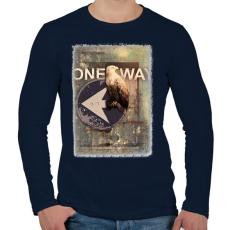 PRINTFASHION Egy út - Férfi hosszú ujjú póló - Sötétkék
