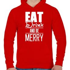 PRINTFASHION Egyél igyál és légy boldog - Férfi kapucnis pulóver - Piros