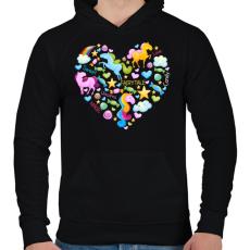 PRINTFASHION Egyszarvú szív - Férfi kapucnis pulóver - Fekete