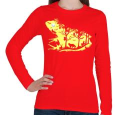 PRINTFASHION Éjjeli béka - Női hosszú ujjú póló - Piros