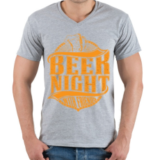 PRINTFASHION Éjszakai sörözés - Férfi V-nyakú póló - Sport szürke