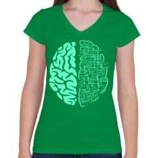 PRINTFASHION Electroagy - Női V-nyakú póló - Zöld