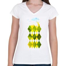 PRINTFASHION Elegant forest - Női V-nyakú póló - Fehér