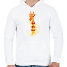 PRINTFASHION Elegant giraffe - Férfi kapucnis pulóver - Fehér