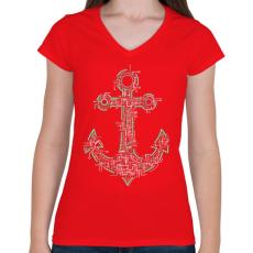 PRINTFASHION Elektrohorgony - Női V-nyakú póló - Piros