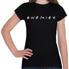 PRINTFASHION Ellenségek - Jóbarátok paródia - Női póló - Fekete