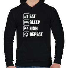 PRINTFASHION Enni, aludni, horgászni - Férfi kapucnis pulóver - Fekete