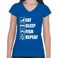 PRINTFASHION Enni, aludni, horgászni - Női V-nyakú póló - Királykék