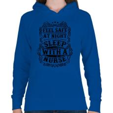 PRINTFASHION Érezd magad biztonságban éjszaka, aludj nővérrel!  - Női kapucnis pulóver - Királykék