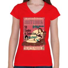 PRINTFASHION Erotikus könyv - Női V-nyakú póló - Piros