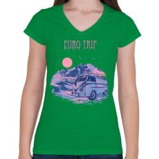 PRINTFASHION Európai utazás - Női V-nyakú póló - Zöld