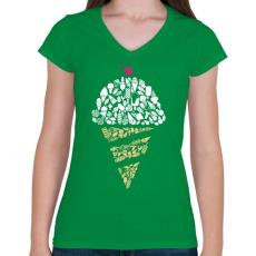 PRINTFASHION Fagyi - Női V-nyakú póló - Zöld