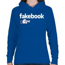 PRINTFASHION Fakebook - Női kapucnis pulóver - Királykék