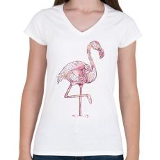 PRINTFASHION Falmingós póló - Női V-nyakú póló - Fehér