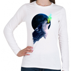 PRINTFASHION Farkasüvöltés - Női hosszú ujjú póló - Fehér