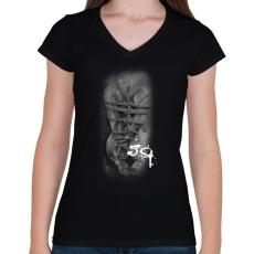 PRINTFASHION fearthe59wh-01 - Női V-nyakú póló - Fekete