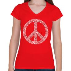 PRINTFASHION Fegyver béke - Női V-nyakú póló - Piros
