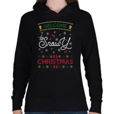 PRINTFASHION Fehér karácsony - Női kapucnis pulóver - Fekete