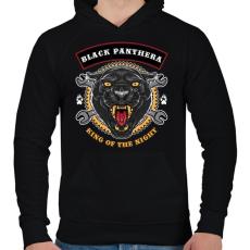 PRINTFASHION Fekete párduc - Férfi kapucnis pulóver - Fekete
