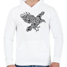 PRINTFASHION Fekete sas - Férfi kapucnis pulóver - Fehér
