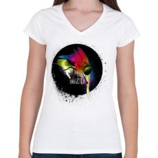 PRINTFASHION Fertőzött - Női V-nyakú póló - Fehér