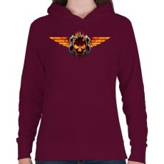 PRINTFASHION Flaming skull - Női kapucnis pulóver - Bordó