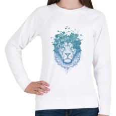 PRINTFASHION Floral lion - Női pulóver - Fehér