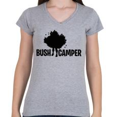 PRINTFASHION Fortnite Bush Camper - Női V-nyakú póló - Sport szürke
