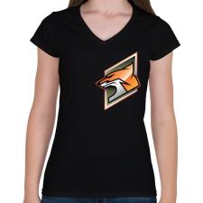 PRINTFASHION Fox - Női V-nyakú póló - Fekete női póló