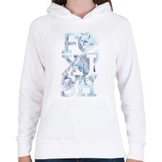 PRINTFASHION Foxish - Női kapucnis pulóver - Fehér