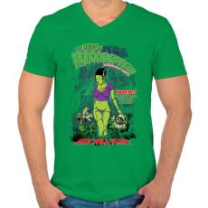 PRINTFASHION Frankenstein menyasszonya - Férfi V-nyakú póló - Zöld