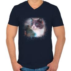 PRINTFASHION Fröcskölt macska - Férfi V-nyakú póló - Sötétkék