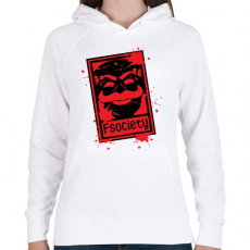 PRINTFASHION Fsociety - Női kapucnis pulóver - Fehér