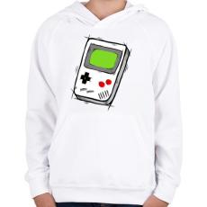PRINTFASHION GameBoy - Gyerek kapucnis pulóver - Fehér
