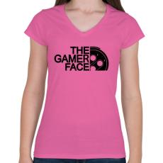 PRINTFASHION Gamer Face - Női V-nyakú póló - Rózsaszín