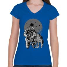 PRINTFASHION Gázmaszk - Női V-nyakú póló - Királykék