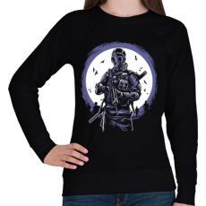 PRINTFASHION Gázmaszkos katona - Női pulóver - Fekete