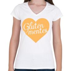 PRINTFASHION gluten-free-love-orange - Női V-nyakú póló - Fehér