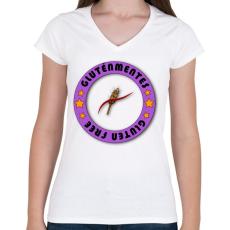 PRINTFASHION Glutenfree5 - Női V-nyakú póló - Fehér