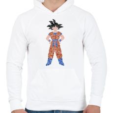 PRINTFASHION Goku - Férfi kapucnis pulóver - Fehér