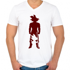 PRINTFASHION Goku - Férfi V-nyakú póló - Fehér