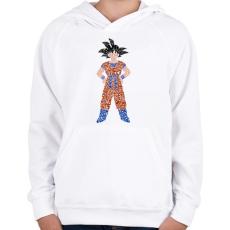 PRINTFASHION Goku - Gyerek kapucnis pulóver - Fehér