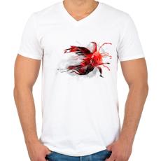 PRINTFASHION Goldfish - Férfi V-nyakú póló - Fehér