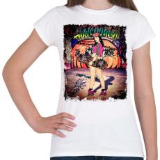 PRINTFASHION Gördeszkás lány - Női póló - Fehér