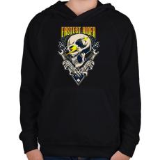 PRINTFASHION Gyors sofőr - Gyerek kapucnis pulóver - Fekete