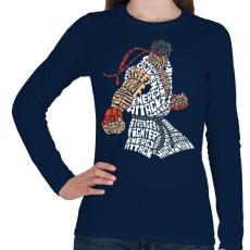 PRINTFASHION Hadouken - Női hosszú ujjú póló - Sötétkék