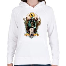 PRINTFASHION Halál szeme - Női kapucnis pulóver - Fehér
