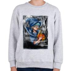PRINTFASHION Halloween boszorkány - Gyerek pulóver - Sport szürke